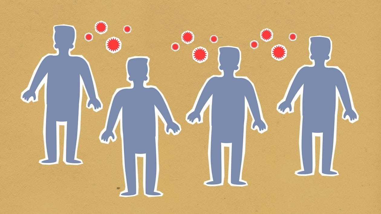 Paper cutout of men surrounded with viruses