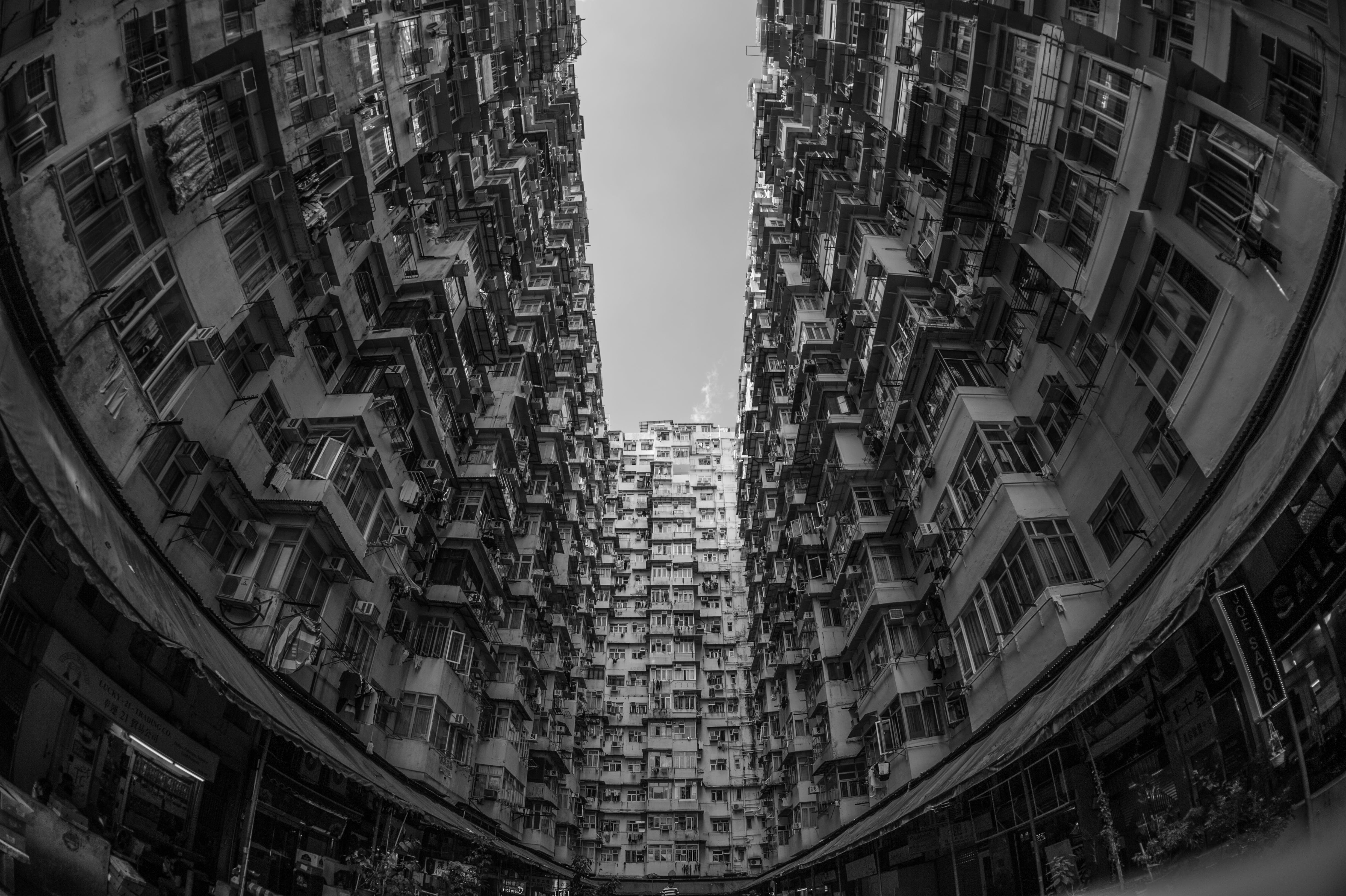 apartment buildings, architecture, black-and-white