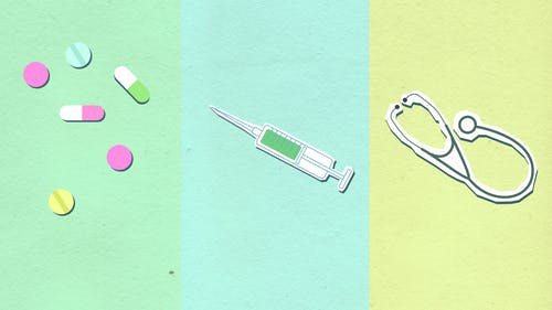 Cutout paper composition of medical therapy on colorful background