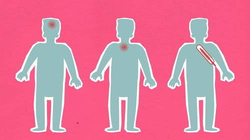 Cardboard illustration of human figures with viruses causing aches  and thermometer indicating fever during COVID 19 pandemic on pink background
