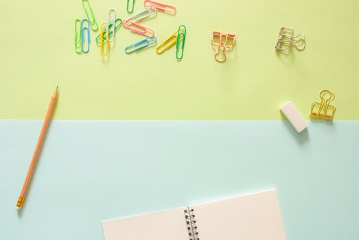 Free stock photo of notebook, pencil, eraser, background