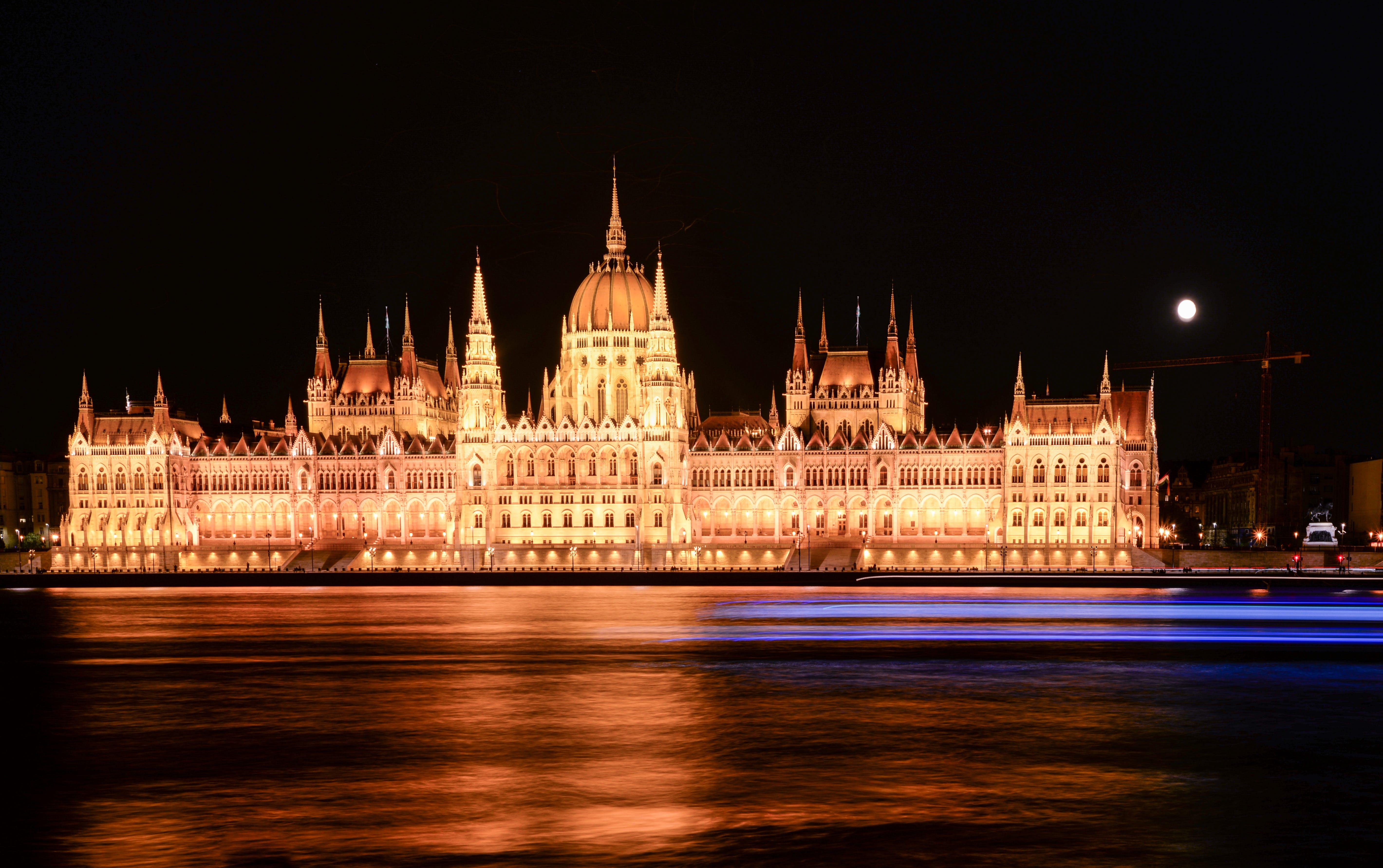 Illuminated Castle at Night