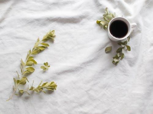 White Ceramic Mug With Green Leaves on White Textile