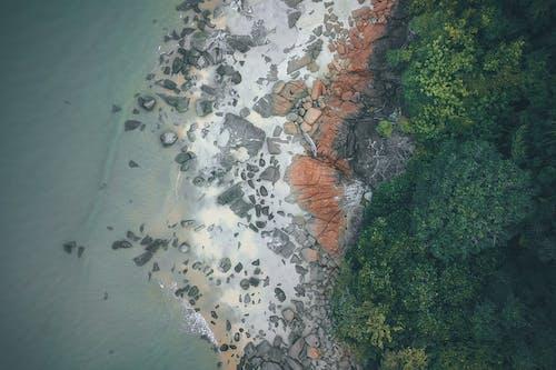 Aerial tropical seacoast near blue ocean