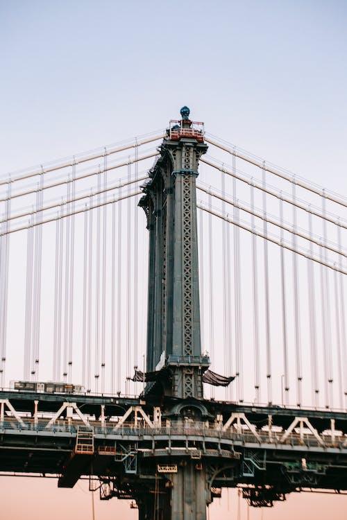 Metal bridge with massive tall columns
