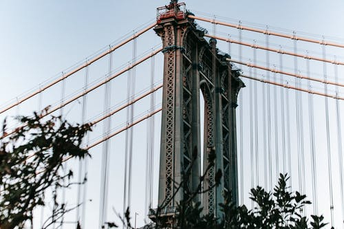 Fragment of Manhattan Bridge against blue sky