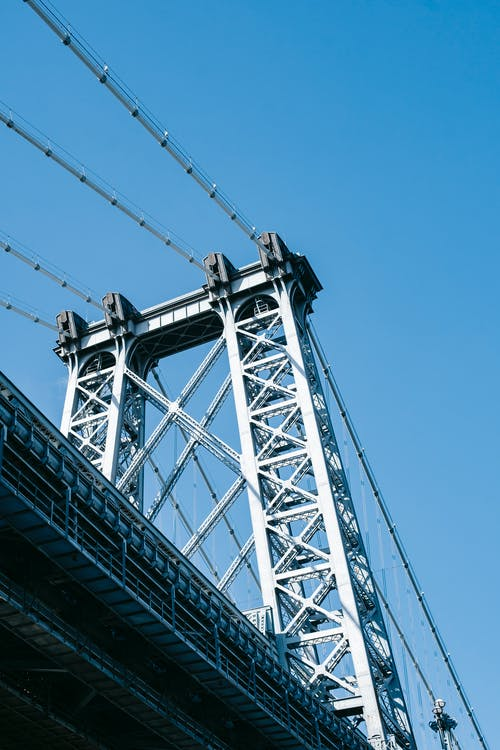 Bridge with iron cables in city