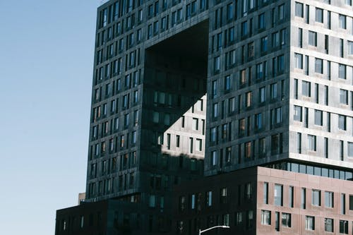 Modern multistory apartment building in city