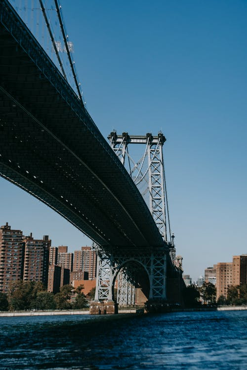 From below of Williamsburg Bridge across East River connecting Manhattan and  Brooklyn in America