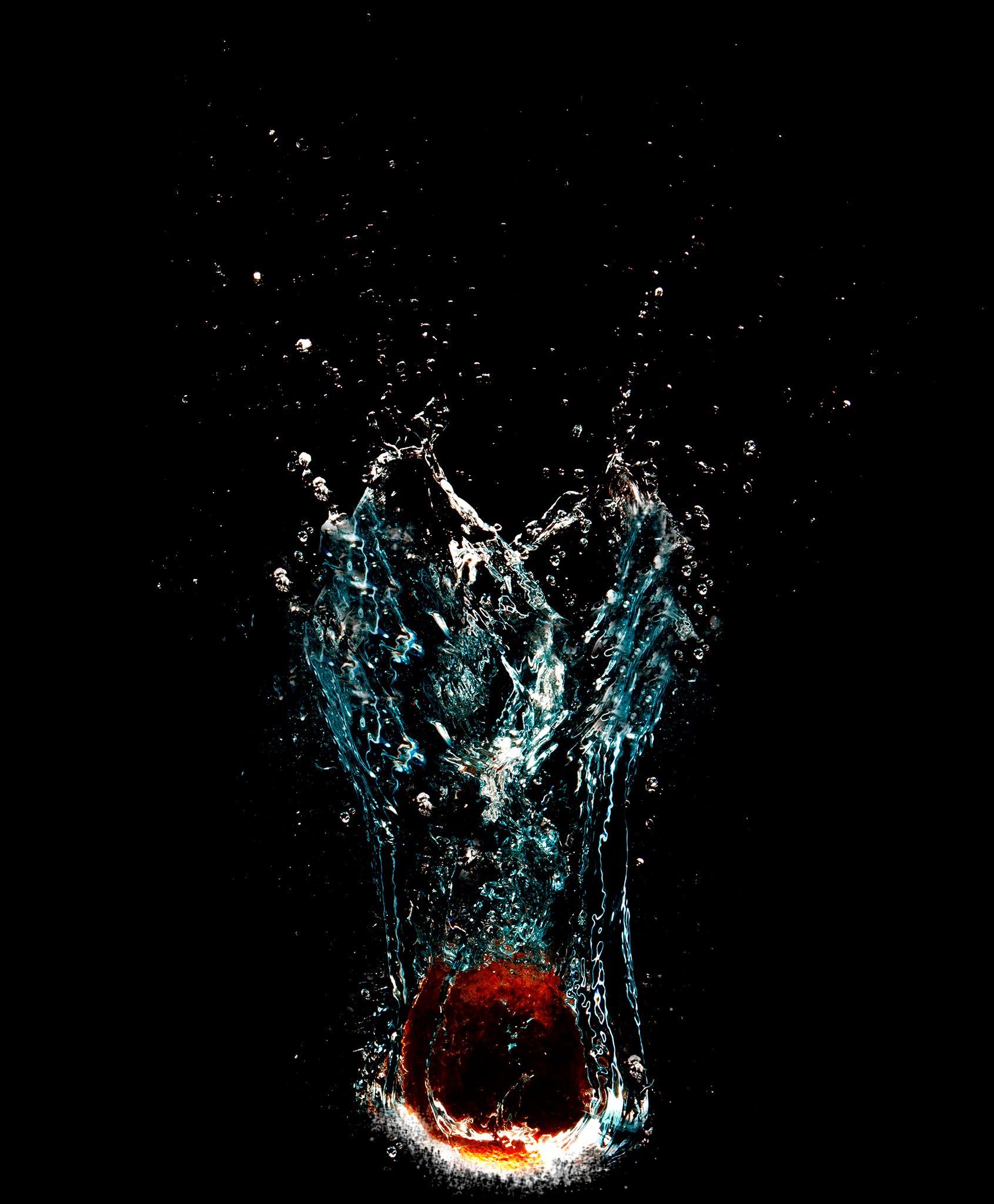 apple, bubbles, fluid