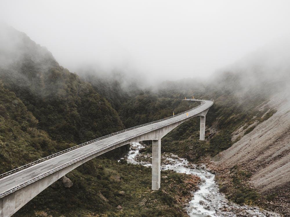 Gray Concrete Suspension Bridge