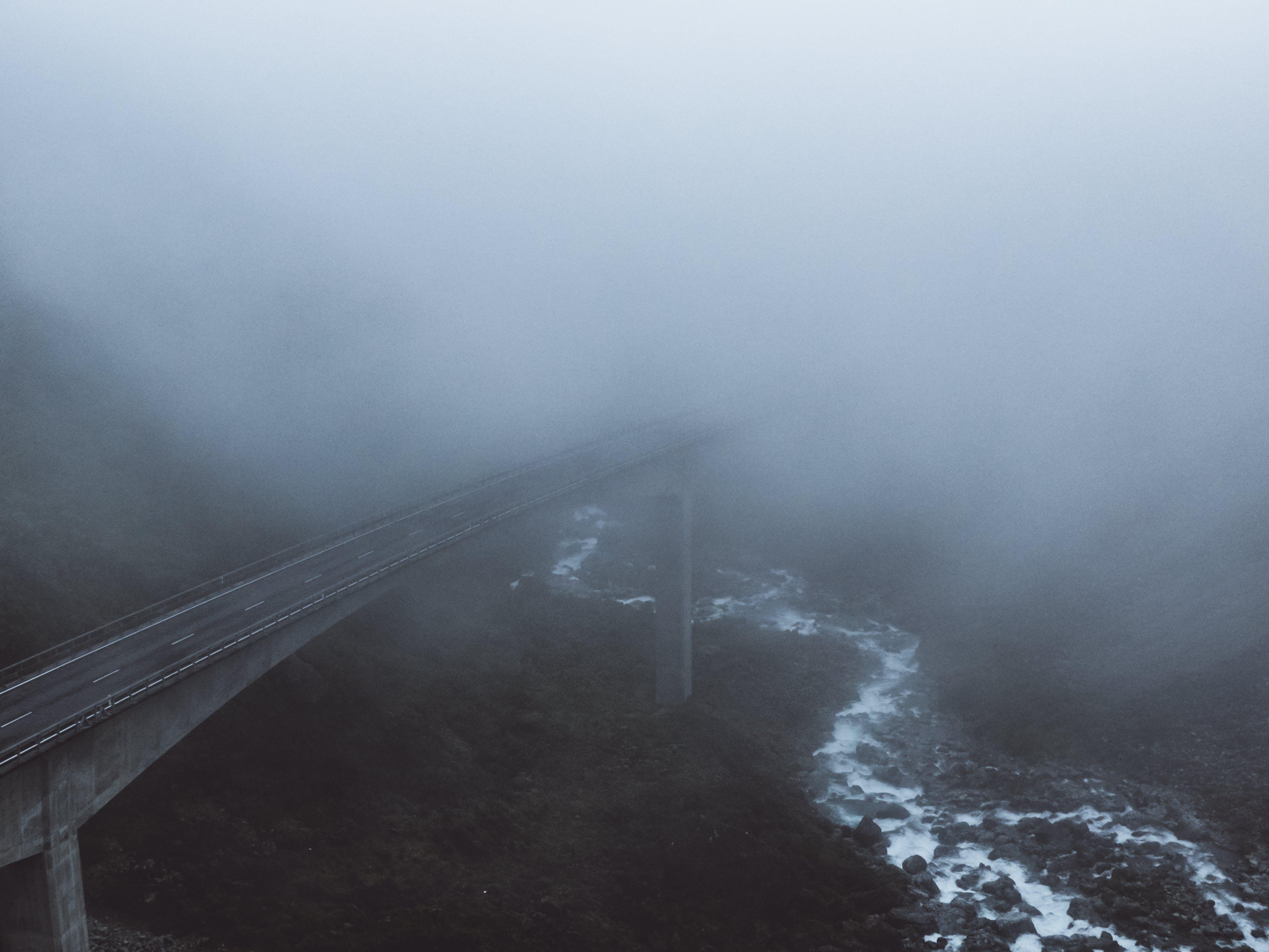 Concrete Bridge Covered With Mist