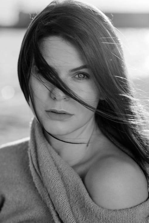 Grayscale Photo of Woman in Towel