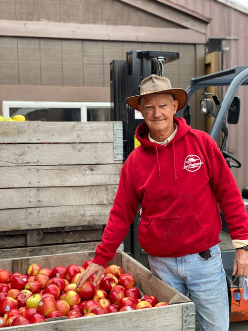 Happy aged male farmer in hat standing near wooden box full of ripe apples and looking at camera