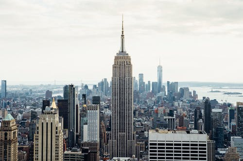 Empire State Building against sea in USA