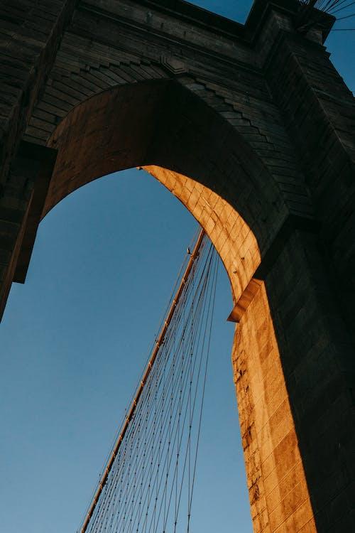 Classic gate on suspension bridge in city