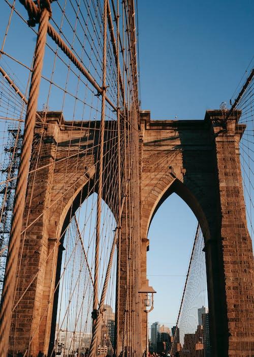 Suspension bridge in downtown of city