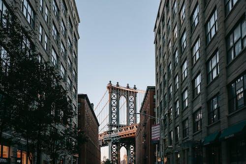 Suspension bridge behind street with classic buildings