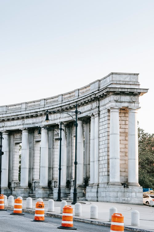 Old stone columns on city street