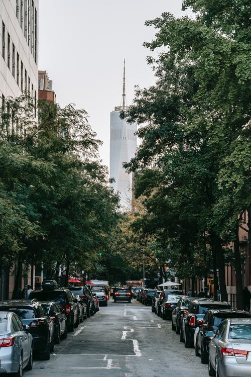 Narrow road leading to Freedom Tower