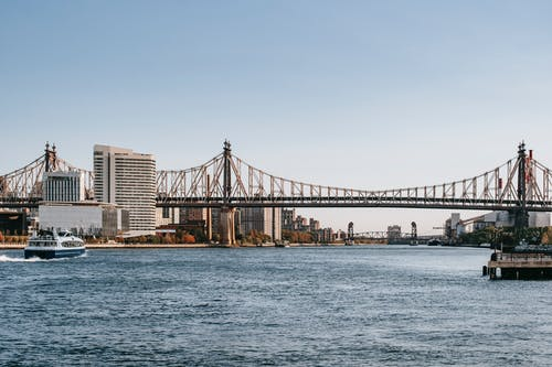 Famous cantilever Queensboro Bridge crossing East river placed in New York City under cloudless clue sky in daytime