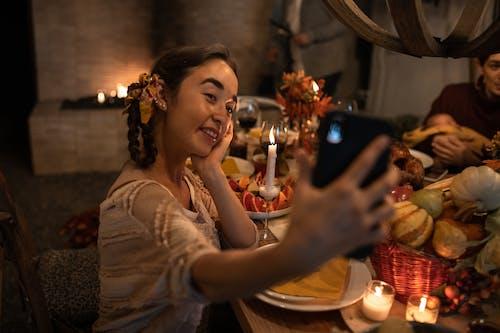 Woman in Having Selfie