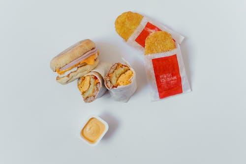 Flatlay Photo of Food on White Background