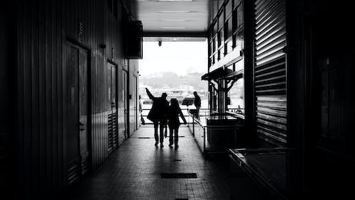 Základová fotografie zdarma na téma architektura, černobílá, chodba, dveře