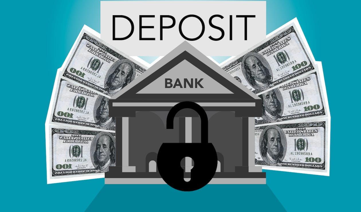 Decorative cardboard illustration of lock on bank with American paper money under Deposit inscription on blue background