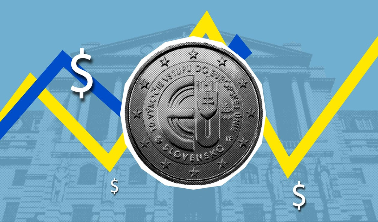 Illustration revealing economic concept of growth and decline of euro and dollar currencies against facade of historic building