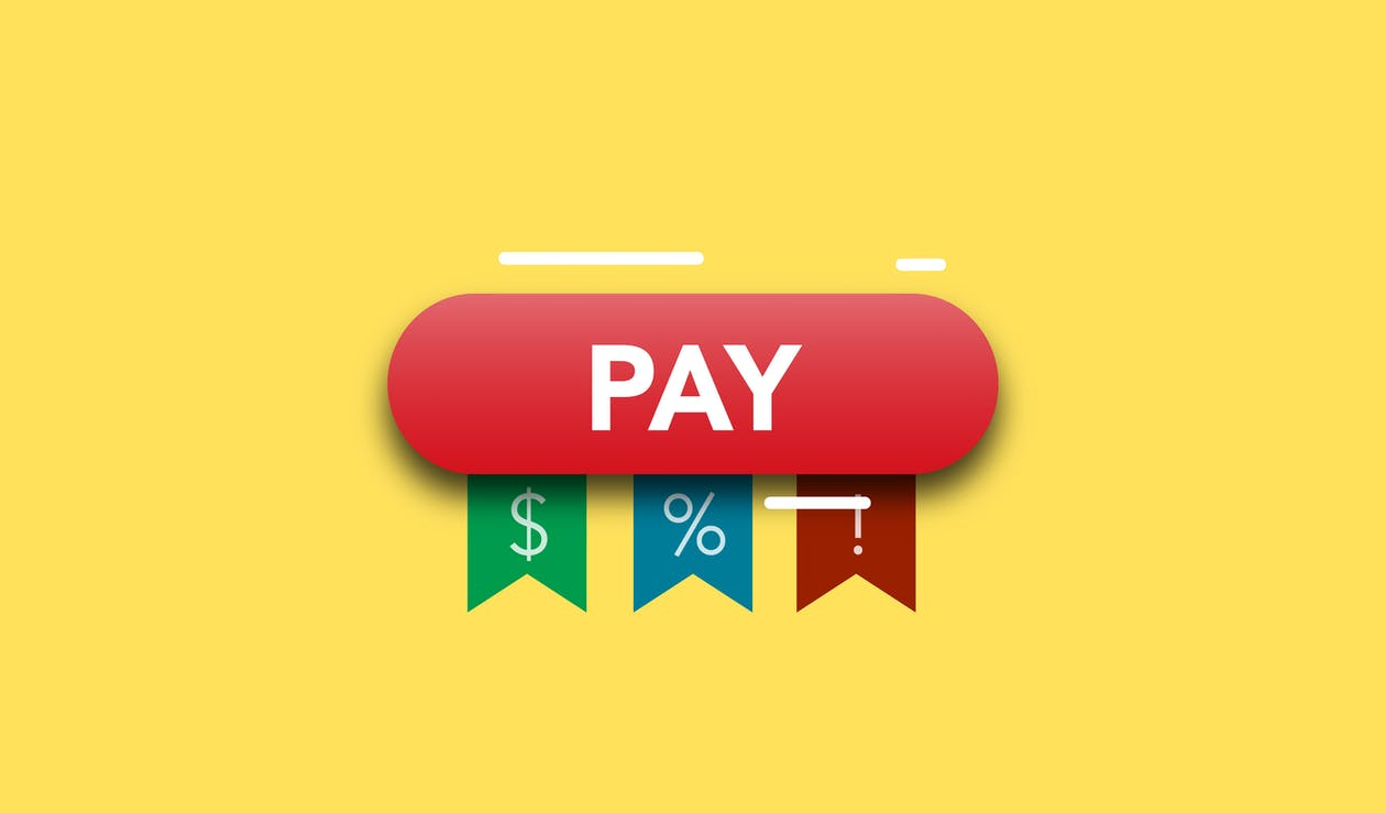 Simple illustration showing financial concept of payments with dollars interests and information on yellow background