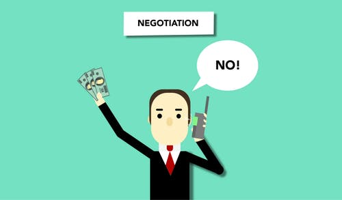 Concept illustration of man with money saying no to offer during business negations on phone