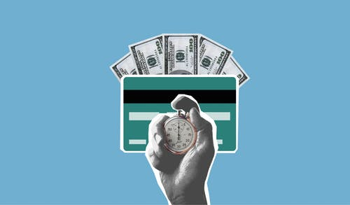 Cut out paper composition of stopwatch in hand of man waiting for money credited to credit card on blue background