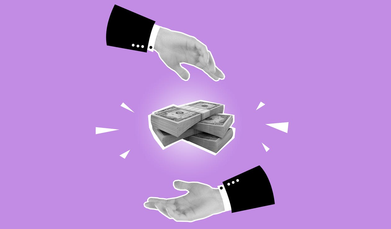 Cutout paper composition demonstrating money turnover on purple background