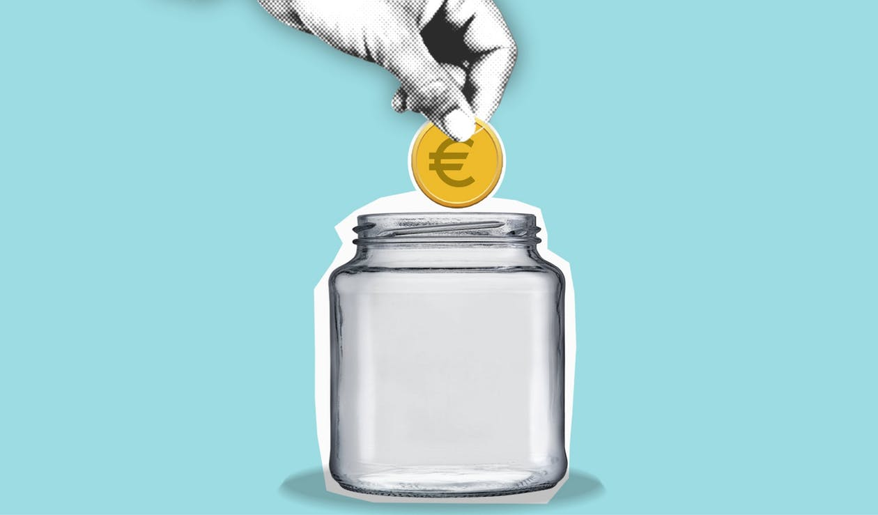 Decorative cardboard appliques of hand with euro coin above jar representing money saving process on blue background