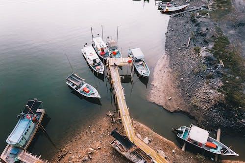 Boats moored on sea near rural pier