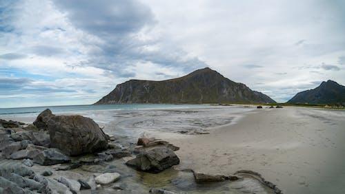 Rocky coast near rippling sea