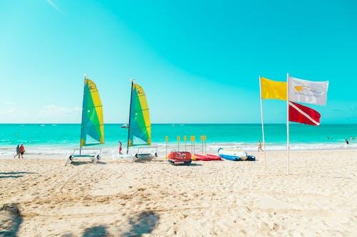 Beach Umbrellas on Beach Shore