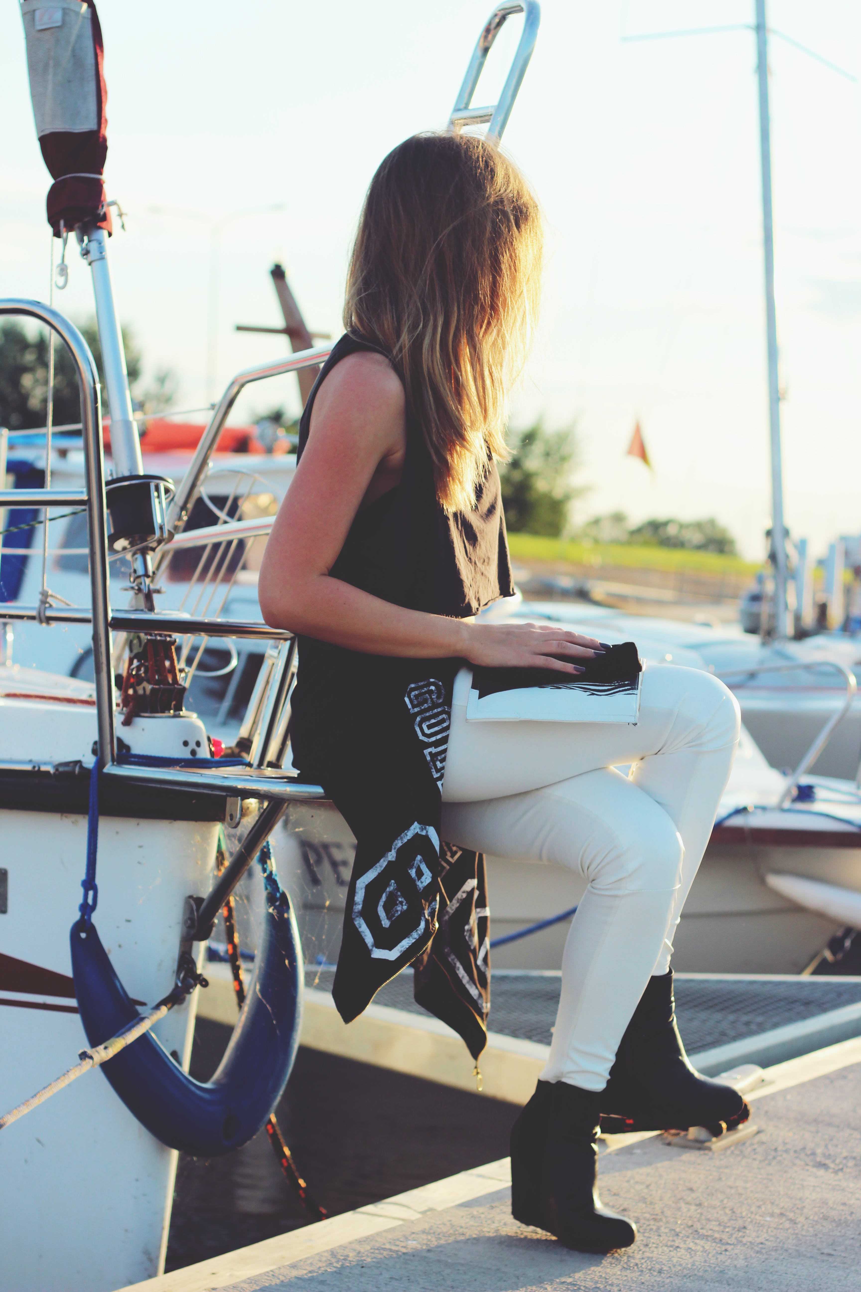 Girl sitting on the boat