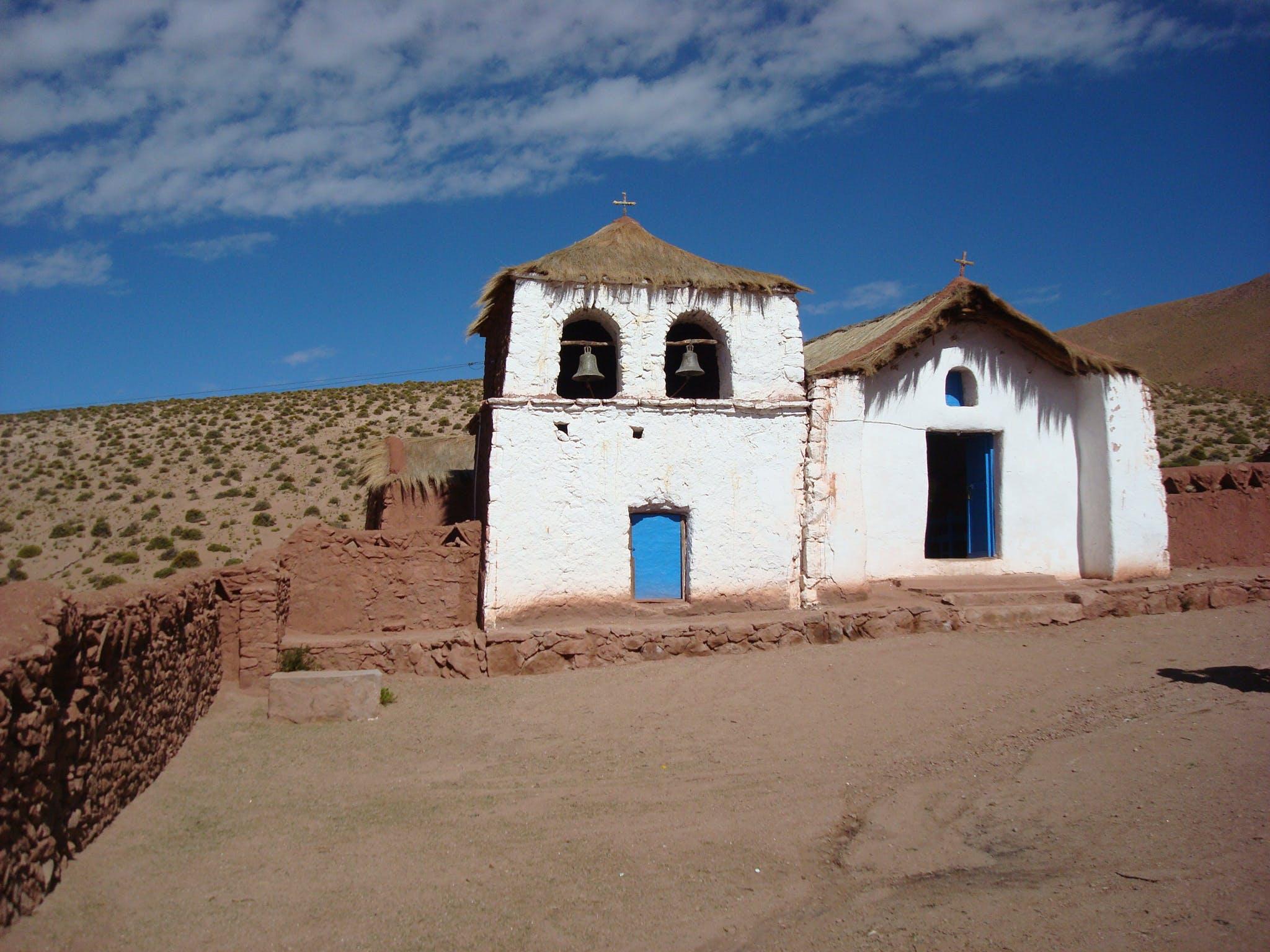 Free stock photo of blue, chile, church, desert