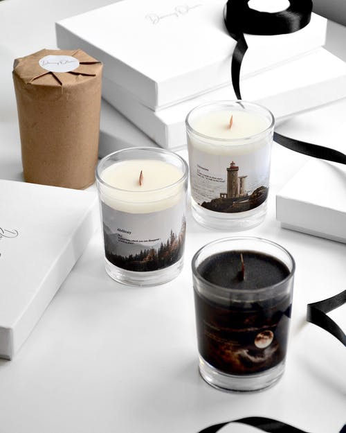 Collection of candles in studio