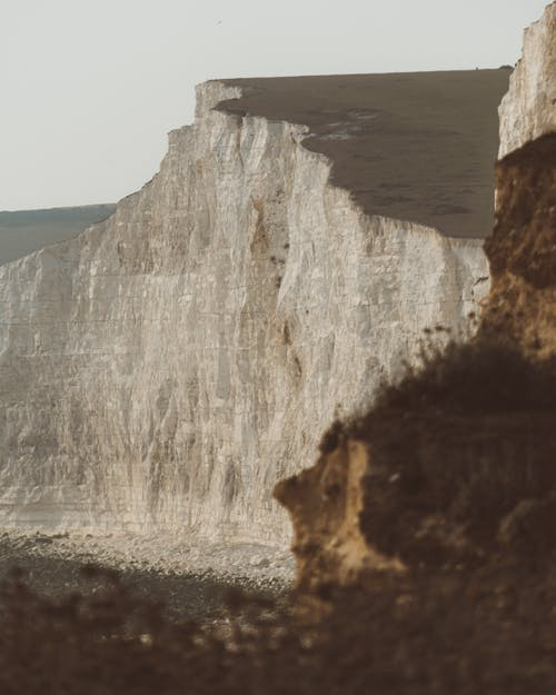 Massive cliff above wild ocean shore