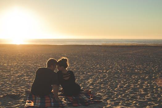Free stock photo of sunset, beach, couple, love