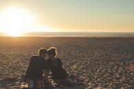 sunset, beach, couple