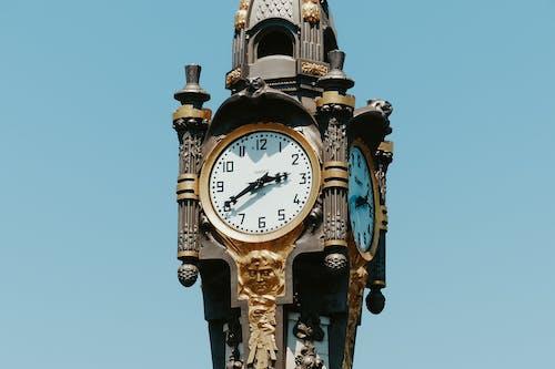 Classic clock in clear blue sky