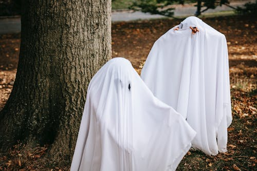 Children in ghost costumes in park