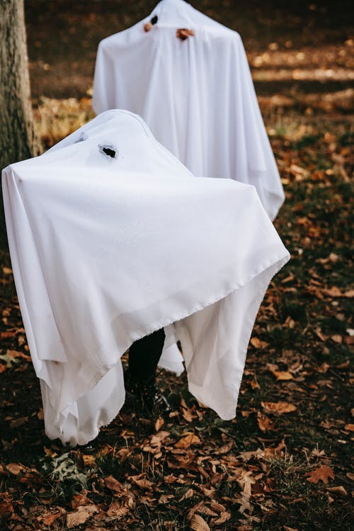 Anonymous kids wearing costumes of mysterious spooky ghosts for Halloween in autumn park