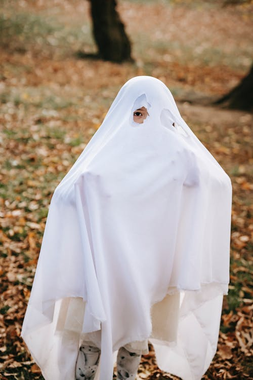 Funny child in white costume of spooky ghost on Halloween in autumn park