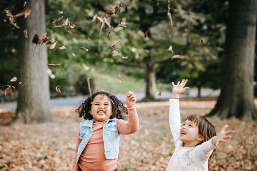 Excited children tossing leaves in park
