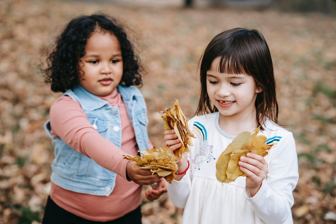 Diverse children playing with fallen leaves